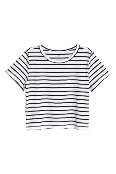 Jersey top - Black/White/Striped - Kids | H&M 1